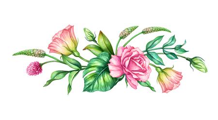 aquarel botanische illustratie, roze roze bloemen, tropische groene bladeren, bloemen boeket, grens, geïsoleerd op een witte achtergrond Stockfoto