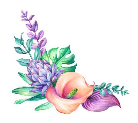 aquarel botanische illustratie, wilde tropische bloemen, jungle groene bladeren, calla lelie floral hoek decor, geïsoleerd op een witte achtergrond Stockfoto