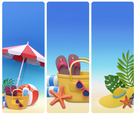 rendering: 3d render, decorative paper craft, summer holiday beach picnic, blank banners set, design card template