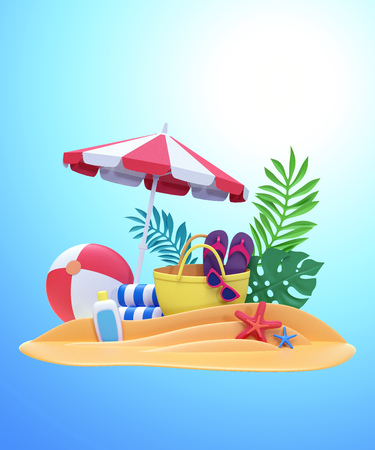 3d render, decorative paper craft, summer holiday, beach picnic, card template, poster design