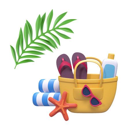 3d geef, decoratieve document ambacht, de zomervakantie, strandpicknick, kuuroord, de elementen van het vakantieontwerp, klemart. Terug op witte achtergrond wordt geïsoleerd die