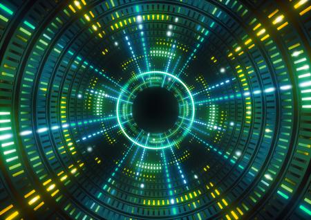 3d 렌더링, 녹색 네온 불빛, 녹색 터널, 추상적 인 기하학적 배경 라운드
