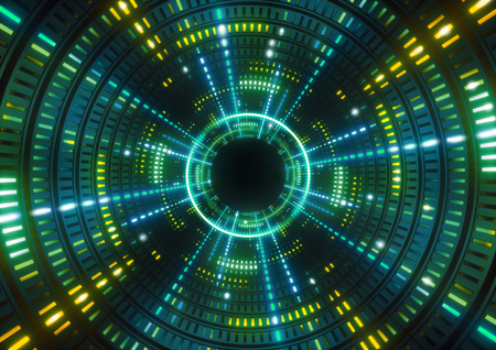 3d render, green neon lights, round green tunnel, abstract geometric background