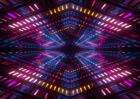 3d 렌더링, 핑크 블루 옐로우 네온 불빛, 밝은 다채로운 터널, 추상 형상 배경 스톡 콘텐츠