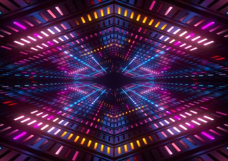 3d geef, roze blauwe gele neonlichten, heldere kleurrijke tunnel, abstracte geometrische achtergrond terug