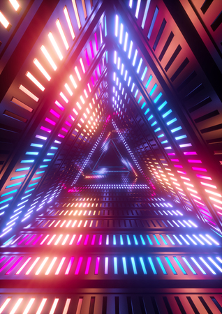 3d render, neon lights, triangle tunnel, abstract geometric background Zdjęcie Seryjne - 83721599