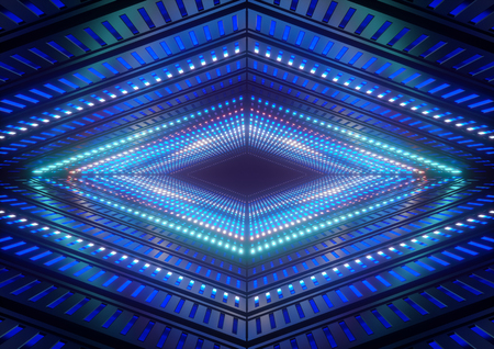 3d render, blue neon lights, bright colorful tunnel, abstract geometric background Imagens