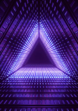 3d 렌더링, 블루 네온 불빛, 파란색 삼각형 터널, 추상 형상 배경