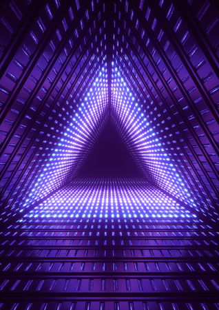 3d render, blue neon lights, blue triangle tunnel, abstract geometric background