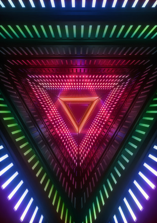 3d render, colorful neon lights, blue triangle tunnel, abstract geometric background