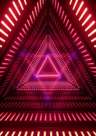 vintage background: 3d render, red neon lights, triangle tunnel, abstract geometric background Stock Photo