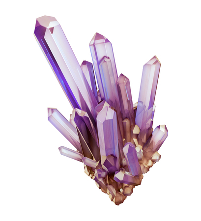 3d render, digital illustration, abstract purple amethyst crystals, faceted gem, geology, nugget, minerals collection, clip art, isolated on white background Stock Photo