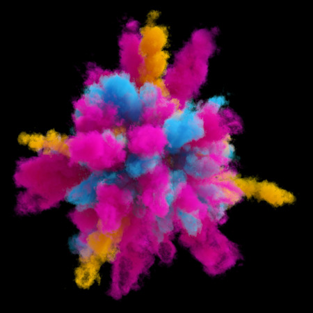 3d render, explosion of colored powder, colorant, clouds of colorful dust, isolated on black background