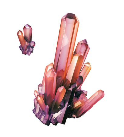 amethyst rough: 3d render, digital illustration, abstract ruby red crystals, faceted gem, geology, nugget, minerals collection, clip art, isolated on white background