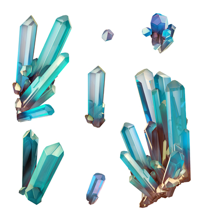 amethyst rough: 3d render, digital illustration, abstract aquamarine blue crystals, faceted gem, geology, nugget, minerals collection, clip art, isolated on white background Stock Photo