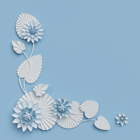 3d render, paper lotus flowers, blue wall decoration, border, white water lily, leaves, corner design element, isolated on white background Zdjęcie Seryjne - 85083813