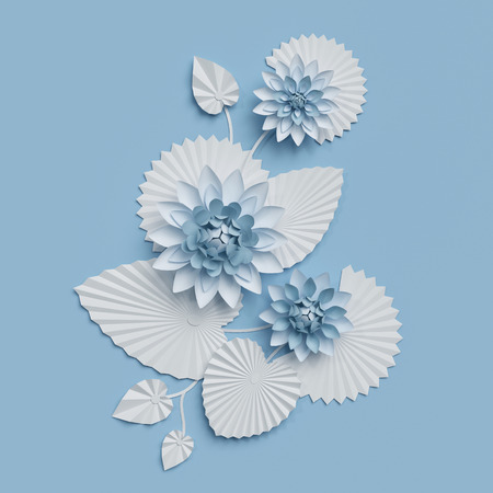 3d render, paper lotus flowers, blue wall decoration, border, white water lily, leaves, design elements, isolated on white background Banque d'images