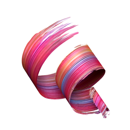 3d render, abstract brush stroke, paint splash, splatter, colorful curl, artistic spiral, vivid ribbon Stock fotó