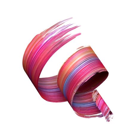 Rendu 3D, coup de brosse abstrait, éclaboussures de peinture, éclaboussures, boucles d'oreille colorées, spirale artistique, ruban vif Banque d'images - 85063374
