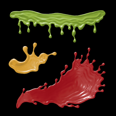 3d render, abstract liquid splashes, hot sauce set, isolated splashing clip art