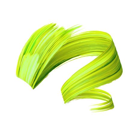 3d render, abstract brush stroke, paint splash, splatter, colorful curl, artistic spiral, vivid ribbon Stock Photo