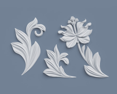 3d render, floral design elements, abstract botanical clip art, classical architectural decor, white stucco, relief flower