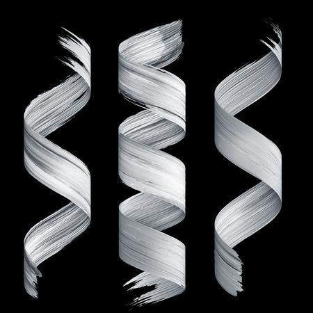 3d render, abstract brush stroke, white paint texture, splash, splatter, wavy lines, dynamic ribbon, calligraphic smear 版權商用圖片