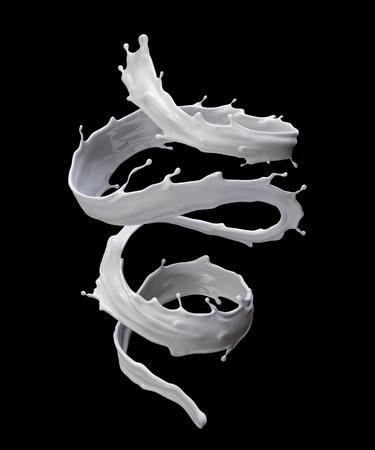 3d 렌더링, 디지털 그림, 우유, 나선형 액체 시작, 검은 색 바탕에 고립 된 흰색 웨이브