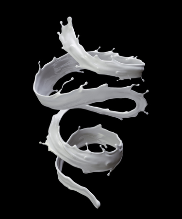 3d render, digital illustration, milk, spiral liquid splash, white wave, isolated on black background Imagens