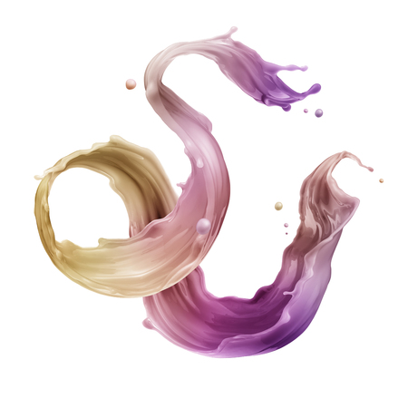 rainbow: 3d render, digital illustration, abstract dynamic liquid splash, paint splashing, abstract colorful wave, fashion background, purple yellow, artistic clip art element isolated on white