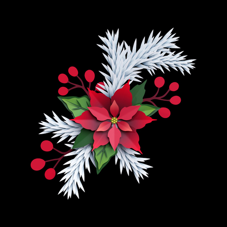 3d render, Christmas poinsettia flower, isolated on black background, paper cut, festive elements, holiday decoration, greeting card Stock Photo