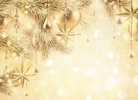 luxurious: digital illustration, sparkling golden festive background, bokeh lights, vintage Christmas tree ornaments, gold balls, stars, winter holiday greeting card Stock Photo