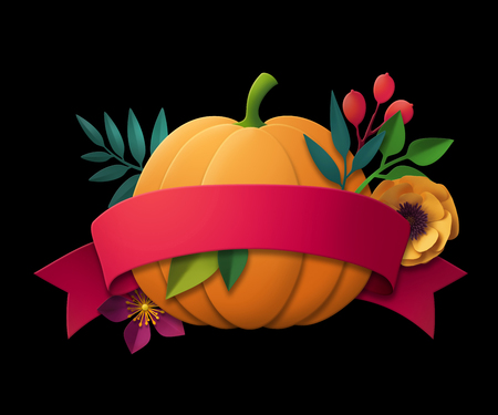 3d render, abstract paper pumpkin and flowers, green leaves, red ribbon tag, blank label, thanksgiving greeting card template, floral banner, isolated on black Stock Photo