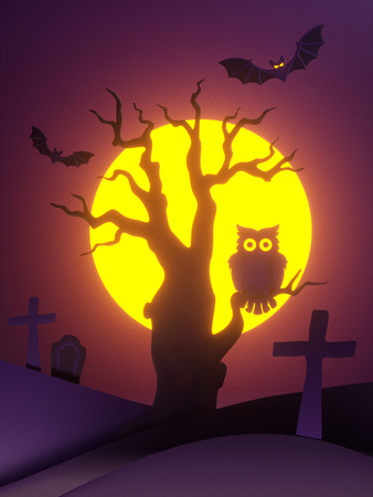 3d render, paper cut Halloween night scene, old tree, owl, bat, full moon, cemetery, holiday background