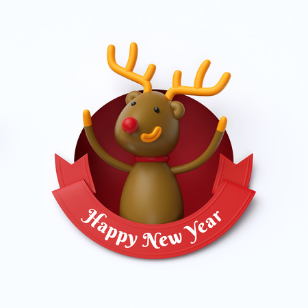 3d render, funny reindeer toy, inside round hole, Happy New Year, red ribbon, holiday clip art isolated on white background