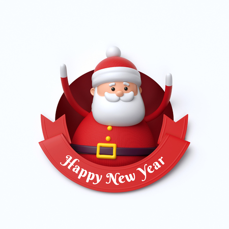 3d render, funny Santa Claus toy, inside round hole, Happy New Year, red ribbon, holiday clip art isolated on white background Stock Photo