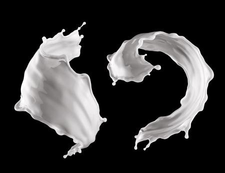 3D éclaboussure de lait, liquide blanc, jet de peinture blanche ondulée, clip isolé éclaboussures de boissons Banque d'images - 88189378