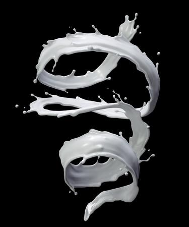 3d milk splash, white liquid, wavy white paint jet, isolated drink splashing clip art