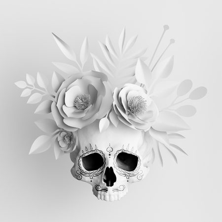 3d render, white floral skull, paper flowers crown, Halloween background