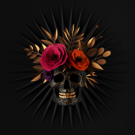 3d render, floral skull, red paper flowers, gold leaves, ribbon tag, Halloween decor, isolated on black background