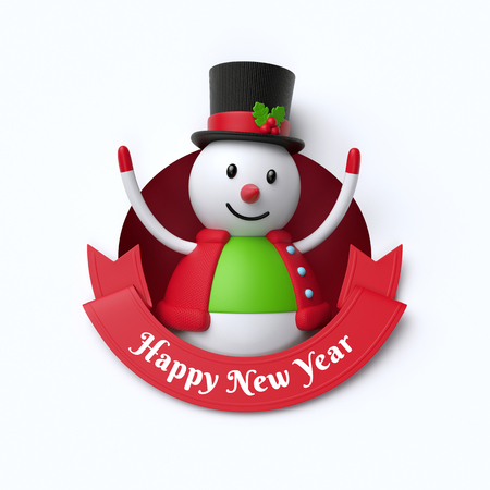 3d render, funny snowman toy, inside round hole, Happy New Year, red ribbon, holiday clip art isolated on white background Stock Photo