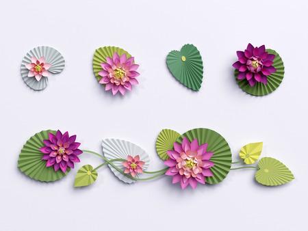 3 d のレンダリング、紙の蓮の花、壁の装飾、枠線、緑ピンクのスイレンの葉、白い背景で隔離のデザイン要素