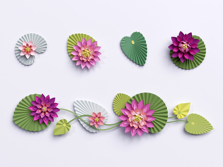 3d render, paper lotus flowers, wall decoration, border, pink water lily green leaves, design elements isolated on white background