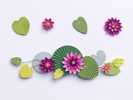 3d 렌더링, 종이 로터스 꽃, 벽 장식, 테두리, 핑크 수련 녹색 나뭇잎, 흰색 배경에 고립 된 디자인 요소