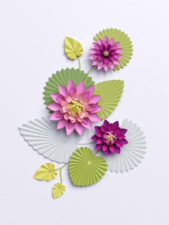 3d render, paper lotus flowers, wall decoration, pink water lily green leaves isolated on white background Stock Photo