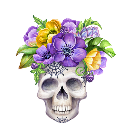 watercolor illustration, human skull decorated with tropical flowers, Halloween character, holiday clip art isolated on white background