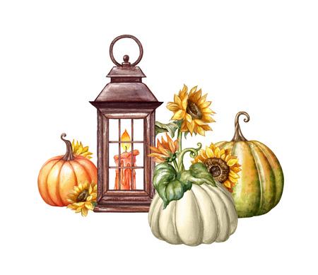 Aquarel illustratie, Thanksgiving, bloemen, rustieke lantaarn, herfst pompoen oogst, val, Halloween, vakantie illustraties geïsoleerd op een witte achtergrond Stockfoto