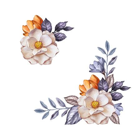 ilustração botânica aquarela, flores de outono, folhas secas, decoração de canto, conjunto de elementos de design floral, queda, clip art, isolado no fundo branco