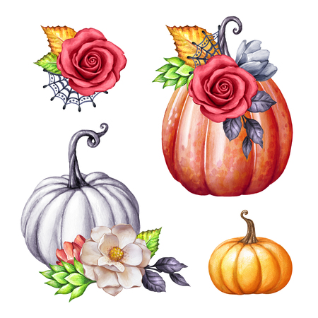 watercolor floral pumpkins, Halloween illustration set, autumn design elements, fall, holiday clip art isolated on white background Foto de archivo