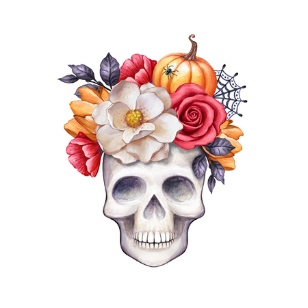 watercolor floral skull, Halloween illustration, autumn flowers, fall, pumpkin, clip art isolated on white background Stock Photo